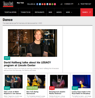 The title page of Time Out New York's online Dance section as of 4/18/15.