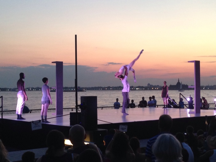 "Battery Dance performs the world premiere of Tadej Brdnik's ""Inter/Ago"" at Robert F. Wagner, Jr. Park in Battery City"