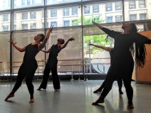 Four dancers rehearse for the New Traditions Festival 2016: Dance Your Caribbean!