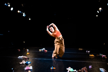 Sarah Chien dances amidst a circle of Beanie Babies.